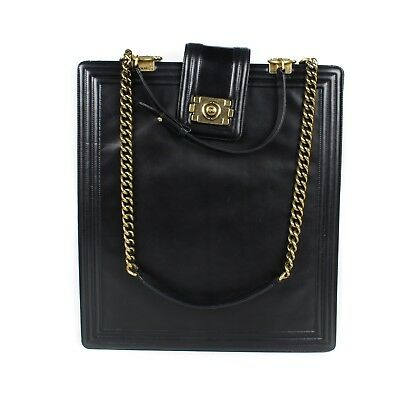 e346ed8a7934 Chanel Boy Bag - Xl Tall Black Leather Briefcase - Gold Chain Shoulder Strap