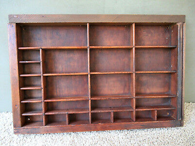 Antique Type Tray Vintage Primitive Printers Drawer Shadow Box, 24 Sections