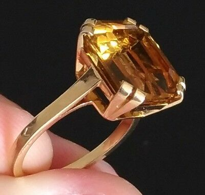 Bague or 18k / citrine 10 carats / taille 52