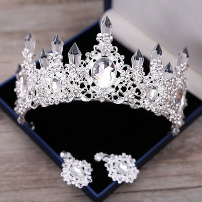 Queen Floral Clear Austrian Crystal Column Tiara Crown Set Bridal Wedding Prom