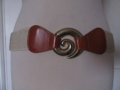 Vintage 90's Jute Elastic Belt On Tan Leather Ends With A Fancy Gold Clasp 16-18