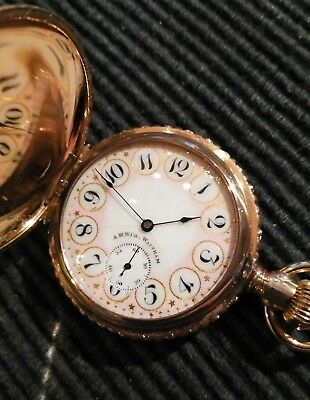 Waltham 6 size. Great fancy dial 7 jewels gold filled hunter case restored.