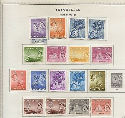 Seychelles 1953-75 Qeii Collection On Leaves