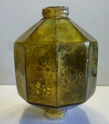 Early gold mercury D&S lightning rod ball, 10 sided, embossed patent pending
