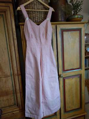 Vintage 1930 1940 style jumpsuit / overalls red white cotton ticking UK 6-8