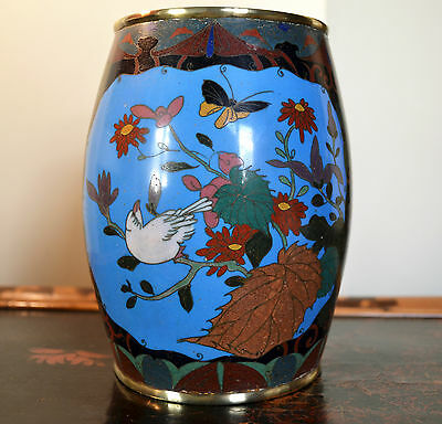 Late Meiji barrel cloisonne vase - Japanese antique enamel pot flowers birds