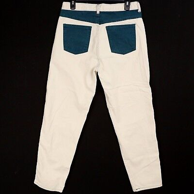 VTG 80s 90s High Waisted Button Fly Mom Jeans Cream Green Pockets Womens 11/12