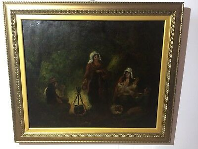 Original Antique 19Th Century Oil Painting GYPSY CAMP After GEORGE MORLAND .