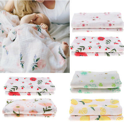 2 Pcs Baby Kids Muslin Swaddle Soft Sleeping Blanket Infant Wrap Bath Towel