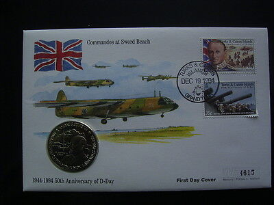 TURKS & CAICOS 1994  50th  ANNIV OF D-DAY. 5 CROWNS COIN FDC BERTRAM RAMSEY