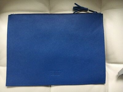PRATESI FIRENZE Leather Zipper Pouch Made in Italy NEW Blue