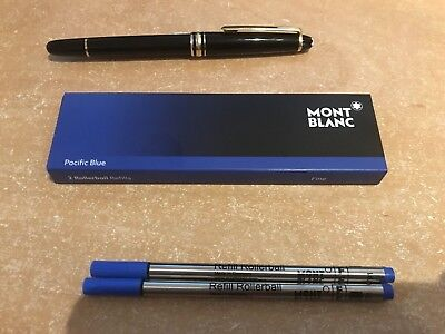 MONT BLANC Rollerball PEN REFILLS AUTHENTIC 2 pack Fine Pacific Blue from UK