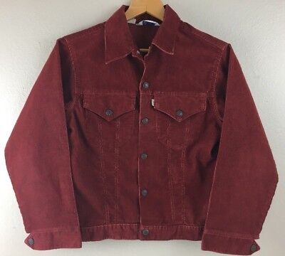 Vtg Levis Corduroy Jacket White Tab Size 18 Youth Maroon Snap Button