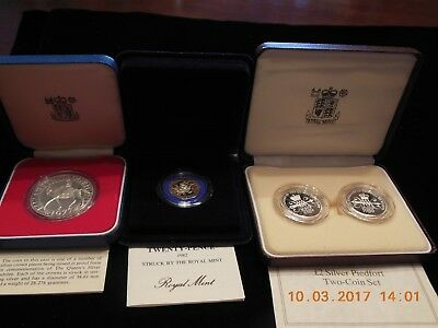 United Kingdom Lot Of Silver Proof & Silver Piedfort Proof Coins