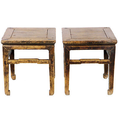 Outstanding Pair Antique Chinese Elm Wood Stools End Tables Plant Stands Creativecarmelina Interior Chair Design Creativecarmelinacom