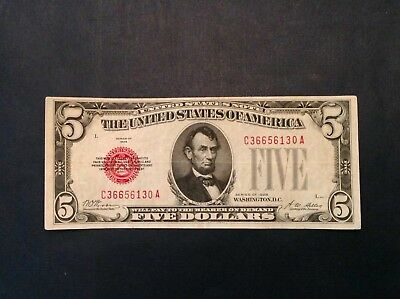 1928 $5 Five Dollar Red Seal US Note Fr 1525