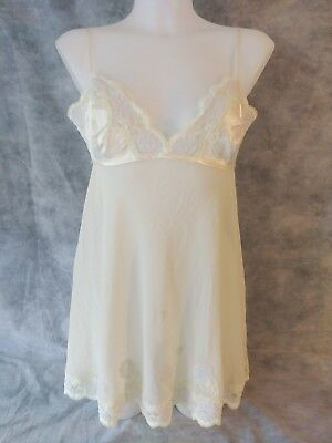 Victoria's Secret Stretch Nylon Camisole Babydoll Slip Size S Tie Back Lace Trim