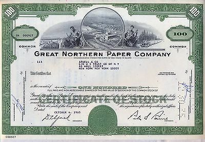 Great Northern Paper Company Stock Certificate Maine