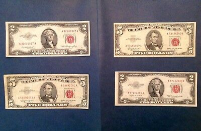 Lot of 4 Red Seal US Notes - Series 1953 & 1953 B $2 and Pair of Series 1963 $5