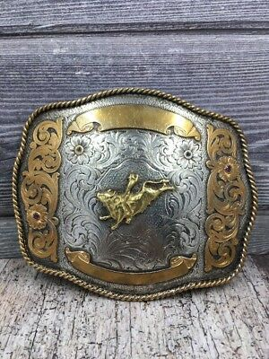 Montana Silversmiths large vintage rare bull riding belt buckle cowboy rodeo 5in