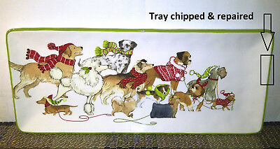 1 USED Pier 1 Imports Park Avenue Puppies Serving Tray/Platter CHIPPED/REPAIRED