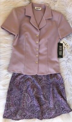 BYER TOO! Women's Two Piece Outfit Skirt SS Jacket Size 7 Lavender Paisley