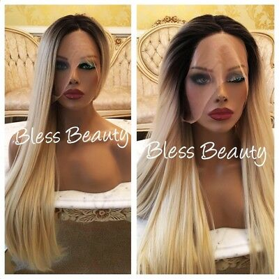 👄Celebrity Full Blonde Hair. Straight  🌹lace front wig.Human  Blend