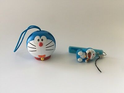 Lot of 2 Doraemon Strap Charms Monkey Eating Dorayaki Head Arms Move Mini Figure