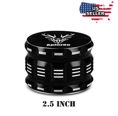 "NEW Herb Grinder For Weed Large 2.5"" Black Aluminium Best 4 Piece MAGNETIC LID"
