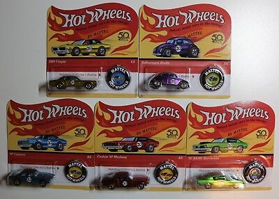 2018 Hot Wheels 50th Anniversary Originals Series (complete set of 5) unpunched
