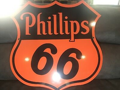 """PHILLIPS 66 30"""" Porcelain Double Sided Sign ORIGINAL DATED 1949  Collector Grade"""