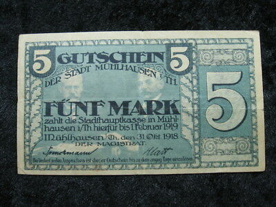 1 old world Notgeld emergency currency note GERMANY MUHLHAUSEN 5 mark 1918