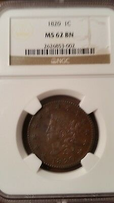 1820 Large Cent 1C NGC MS62 BN