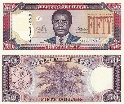 Liberia 50 Dollars (2003) - Samuel Doe/Palm Nuts/p29a UNC