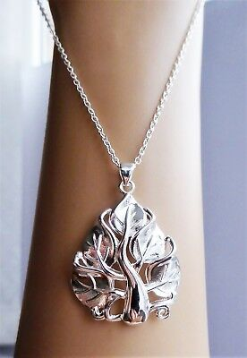 "Silver Metal 18"" Tree of Life Spiritual Pendant Necklace Stamped 925 + Gift Bag"