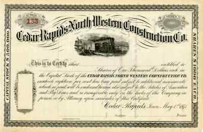 1871 Cedar Rapids North Western Construction Stock Certificate