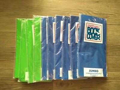 (10) Stretch BOOK COVERS Stretchable Fabric Blue Green Jumbo 10.5-11.5 in Binder