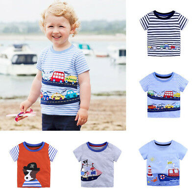Summer Toddler Baby Kids Boys Girls T-Shirts Cartoon Print Shirts Tops Outfits