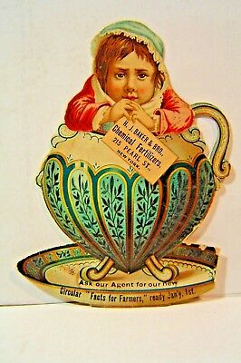 Die Cut  VICTORIAN TRADE CARD  H.J.Baker & Co.Chemical fertilizers Pearl st N.Y.