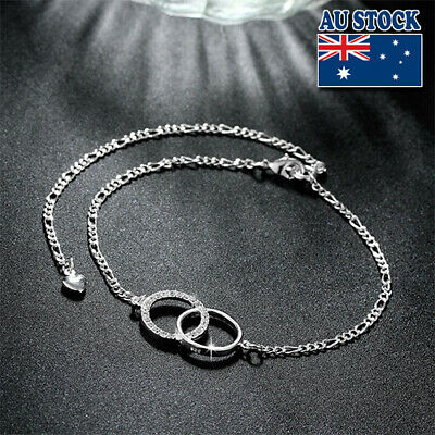 Classic 925 Sterling Silver Filled Double Circle Chain Anklet Foot Jewelry