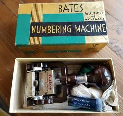 Antique Bates Six Wheel Numbering Machine Style E Original Box, Papers, and Ink