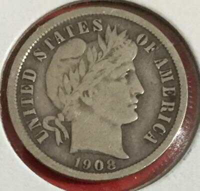 1908 Barber SILVER Dime! Fine! Old US Coins!