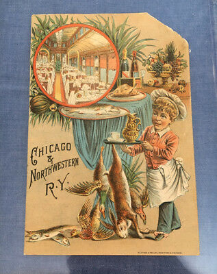 "Ant. 1880's Chicago & Northwestern Railway, Advertising Trade Card 6.75"" x 4.5"""