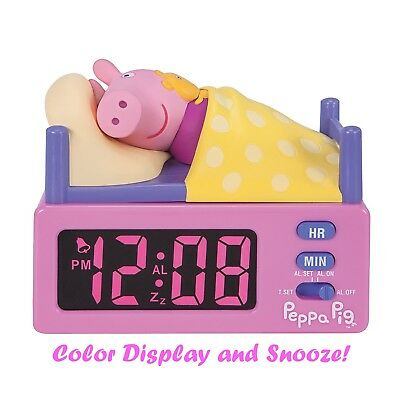 Peppa Pig Alarm Clock w/ Illuminating Color Time Display & Snooze Function USA