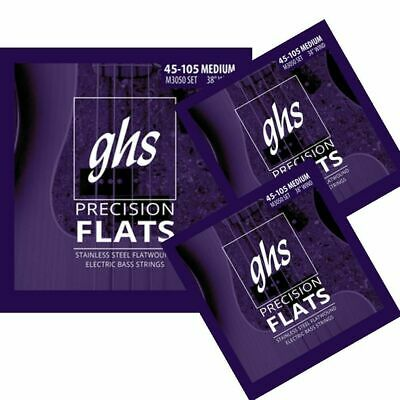 2-Pack GHS Flatwound Stainless Steel Precision Long Scale Bass Strings 55-105