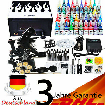 Tätowierung Komplett Set 2 Tattoomaschine 40 inks 50 Nadeln Tattoo Kit DE DHL
