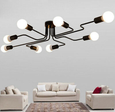 Industrial Vintage Steampunk Ceiling Lamp Wrought Iron Large Semi Flush 8 Light