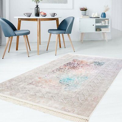 Carpet Flat Pile Polyester Washable Classic Meander Multi with kettfäden