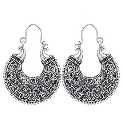 Tribal Vintage Antique Silver Hollow Out Filigree Round Hoop Earrings For Women