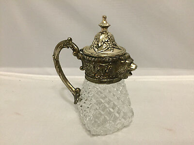 Vintage Crystal and Silver Lion Head Syrup/Creamer Pitcher